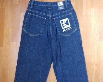 KARL KANI jeans, vintage baggy Kani jeans loose blue 90s hip-hop clothing, old school 1990s hip hop, OG, gangsta rap, size W 28