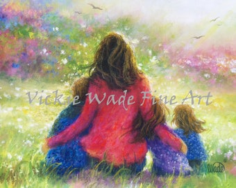 Mother Son Two Daughters Art Print, mother painting, garden mother, Mother's day gift, gift for mom, wall art, Vickie Wade art