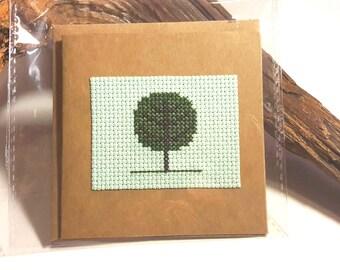 Cross Stitch Greetings Card - Tree