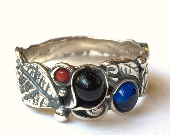 Leaves flowers band, botanical ring, Coral garnet sapphire ring, leaf ring, mothers ring, sterling silver band, Flowers - Hint R1700-3
