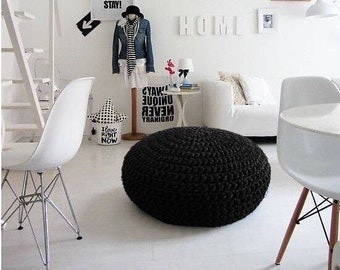 Black Round Ottoman, Large Pouf Seating, Noir Footstool, Crochet Floor Cushion, Big Pouffe, Chunky Knit Floor Pillow