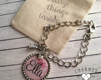Girls personalized cheer bracelet