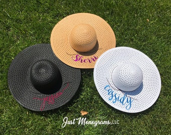 Embroidered Personalized Floppy Sun Hat, Personalized Floppy Hat, Summer Hats, Beach Hat, Embroidered Beach Hats, Honeymoon Beach Hat