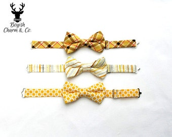 Boys Buttercup Bow Tie,  Yellow Plaid Boys Bow Tie, Striped Yellow gray and tan Bow Tie, Toddler Bow Tie, Wedding Ring Bearer, Boys Yello
