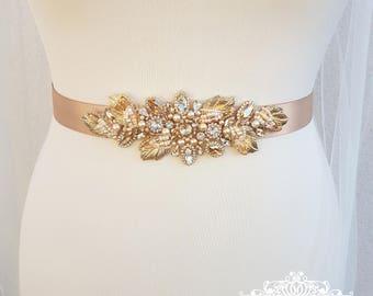 Gold bridal belt, gold leaf belt, bridal belt, champagne sash, bridal sash, wedding belt, champagne belt, gold leaf sash, leaf belt, DARLENE