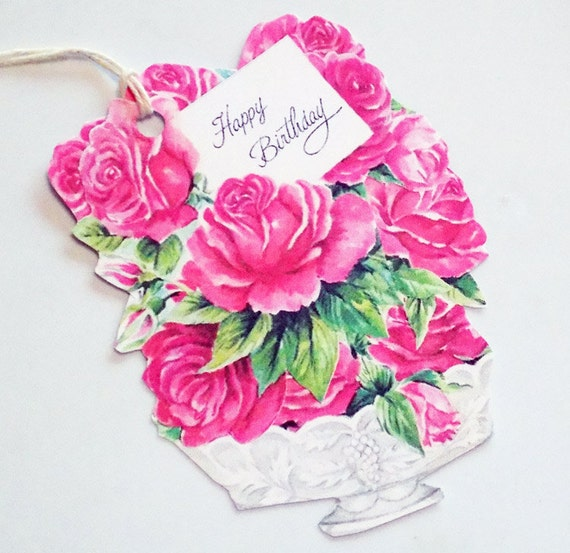Birthday Roses Set of 3 Gift Tags Birthday Bouquet