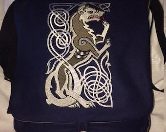 Knotwork Wolf Haversack  - wool and silk