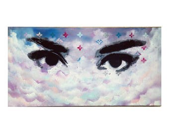 Sky Painting Modern Wall Art On Canvas by Miggz - Kiss The Sky. Size: 10 x 30 Inches (25 cm x 76 cm)