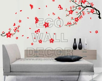 Good PEEL And STICK Removable Vinyl Wall Sticker Mural Decal Art   Red Cherry  Blossom And Butterflies