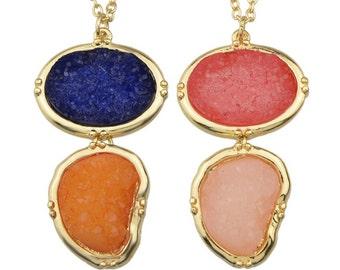 SALE... Natural Double Druzy Stone Necklaces, Stone Geometric Pendant