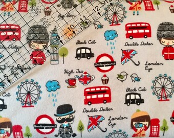 London, Travel, Snuggle Flannel, Fabric By The Yard, Fabric, Flannel, Cotton Fabric, World Fabric, Map Fabric, Quilting, Quilting Fabric