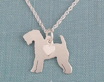 Welsh Terrier Dog Necklace, Sterling Silver Personalize Pendant, Welshie Breed Silhouette Charm Rescue Shelter, Gift