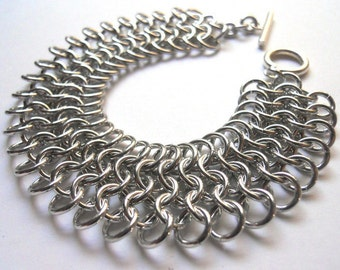 Chainmaille mesh bracelet, European 4 in 1 bracelet, Silver mesh jewelry, Aluminum chainmail