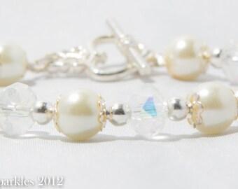Ivory Pearl and AB Crystal Rondelle Bracelet, Pearl Wedding Bracelet, Bridal Jewellery