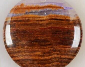 Unique pendant Pearl chalcedony multicolor 40 x 40 x 6 MM.