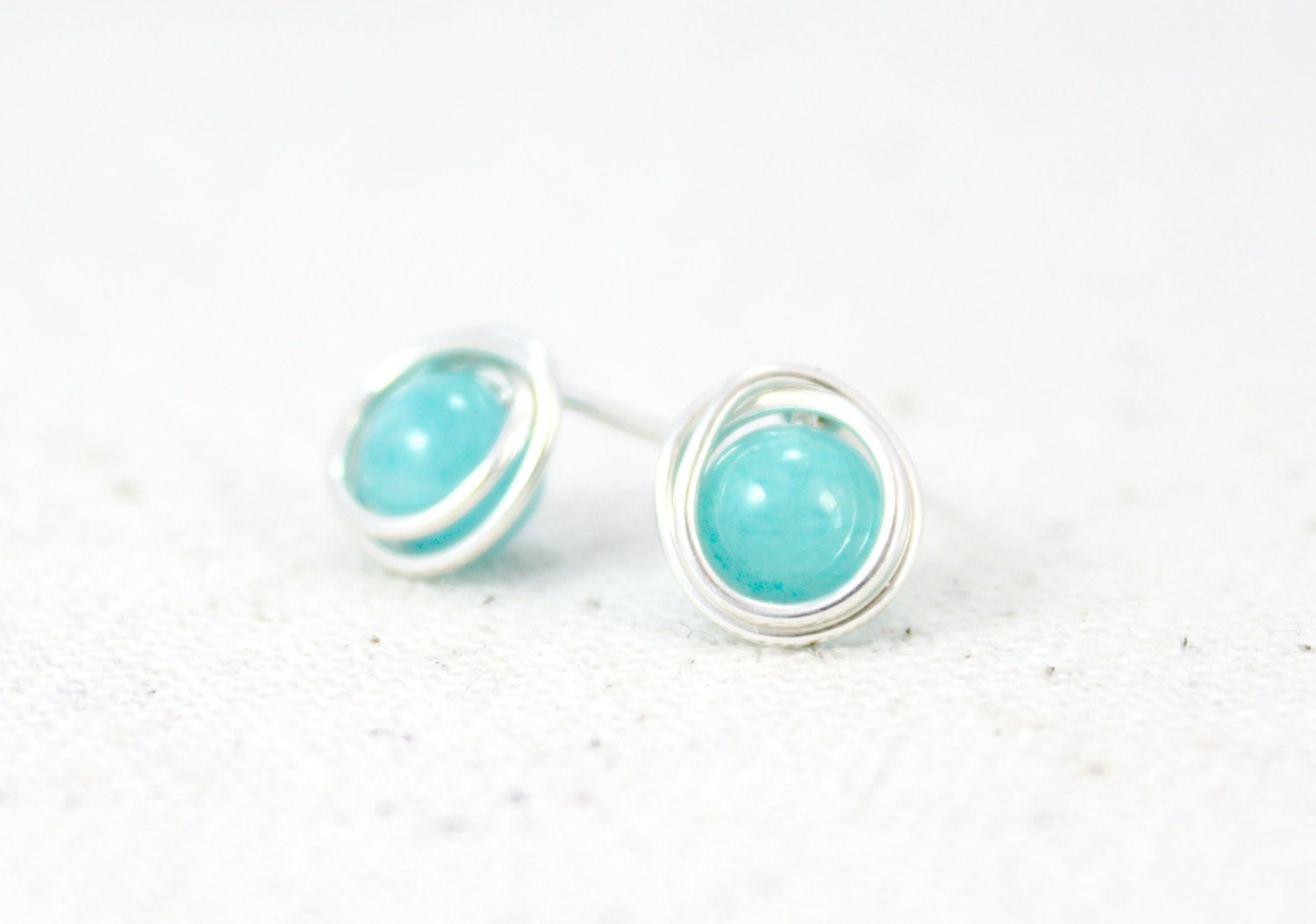 Bright Turquoise Quartzite and Sterling Silver Post Earrings / Wire ...