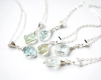 Raw Aquamarine Necklace, Sterling Silver Aquamarine Pendant, Raw Crystal Necklace, Wire Wrapped Raw Stone Necklace, March Birthstone Jewelry