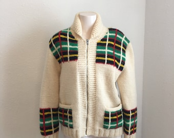 Vintage Cowichan Sweater, Siwash Sweater, Lebowski Sweater, Curling Sweater