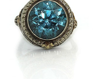 Blue Zircon Ring Unique Engagement Ring 8.00ctw 14 Kt Two Tone Gold Gold Statement Ring