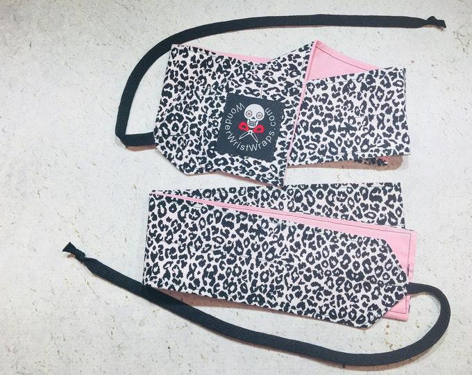 Leopard Print & Pink, Wrist Wraps, WOD, Weightlifting, Athletic
