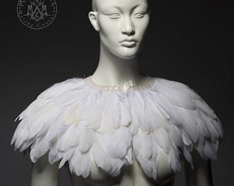 White feather cape / Wedding capelet / White goose feather bridal cape