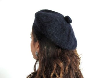 60s fuzzy beret - vintage french mohair dark navy blue round hat Saks Fifth Avenue designer high fashion millinery warm winter cap pom pom