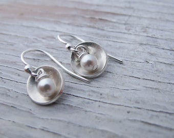 Sterling Silver Dangle Earrings, Small Cups with Pearl, Bowl Shaped, Tiny, Birthday Gift, Graduation Gift, Gift for Her, READY TO SHIP