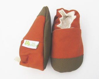 Organic Vegan Heavy Canvas Pumpkin with Brown / non-slip soft sole baby shoes / made to order / Babies Toddler Preschool