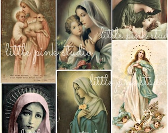 Blessed Mother,  Printable Collage Sheet (digital download, printable)