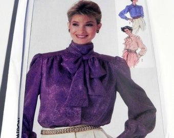 """1980s Bow Blouse gathered yoke tie collar long sleeve top business sewing pattern Simplicity 7173 Size 16 Bust 38"""" UNCUT FF"""