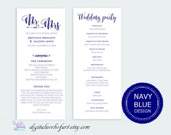 Navy Wedding Program Template, Printable DIY Rustic, Calligraphy Typography, Ceremony Printable Editable PDF Template, Instant Download,