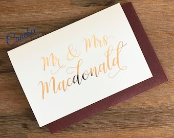 Personalised Wedding Card | Congratulations | Custom | Names | Mr & Mrs | Customised | Wishing Well Card | Foiled Card | Rose Gold