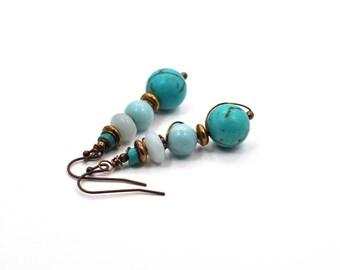 Blue Boho Earrings, Long Dangle Earrings, Boho Jewelry, Bohemian Earrings, Beaded Earrings, Long Beaded Earring, Gift for Wife, Gift for Her