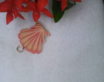 Beautiful Pink Sea Shell polymer clay charm and key ring