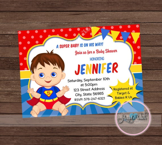 Superhero Baby Shower Invitation Superman Baby Shower