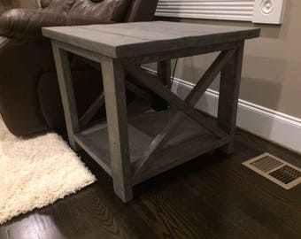 Custom Rustic Farm House End Table