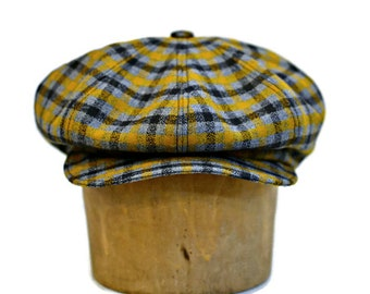 Newsboy Cap in Vintage Wool Crepe in Gray and Mustard Yellow Plaid - Newsboy Hat - Men's Hat - Made to Order