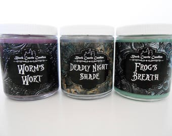 Nightmare Before Christmas Jar Candle Set - Deadly Night Shade - Worms Wort - Frogs Breath - Tim Burton Inspired