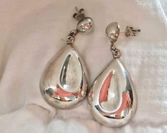 Silver Teardrop Dangle Earrings