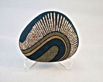 Painted Rock, Unique 3D Art Object, OOAK, Home Decor, Office Decor, Radiance Design, Teal Blue, Gold, Silver, Copper, Gift for Him or Her