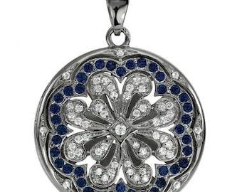 Locket Necklaces Diamond Locket Gold Locket Necklace w/Sapphires 14k White Gold