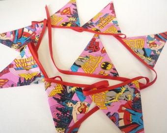 Handmade Batgirl  /  Wonder Woman    Bunting  2mt long   8 Flags