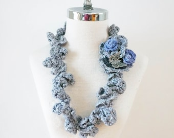 Rose Infinity scarf, Floral Rose Vines Scarf, Grey Rose scarf, Small accent scarf in grey with roses and a butterfly, perfect any season