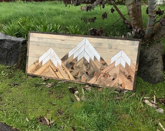 Large Three Rustic Wood Mountains Wall Art