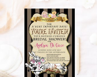 Wonderland bridal shower invitation, Mad hatter bridal shower invitation, Alice bridal shower invitation, Tea party bridal shower brunch