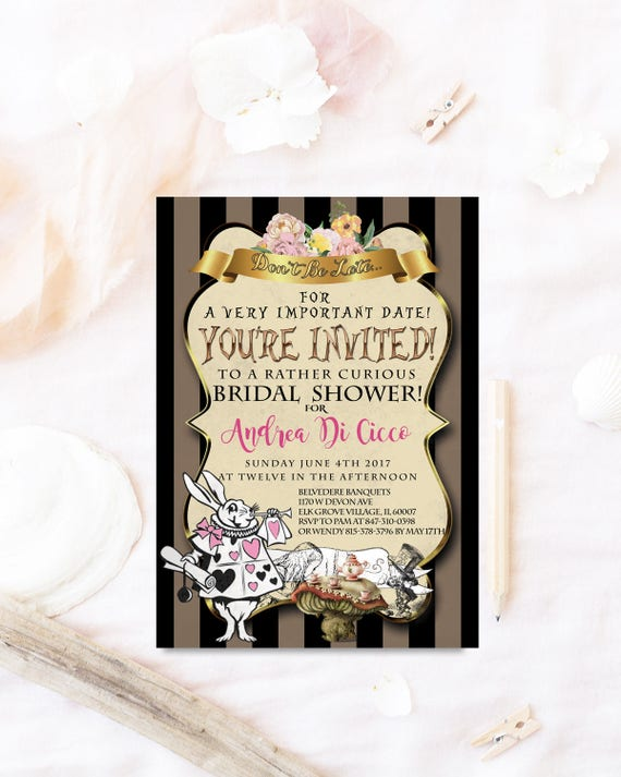 Wonderland bridal shower invitation mad hatter bridal shower filmwisefo