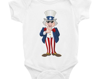 Cute Pig Uncle Sam Patriotic Pig Infant Bodysuit Gift Idea For 4th of July American Flag Lovers