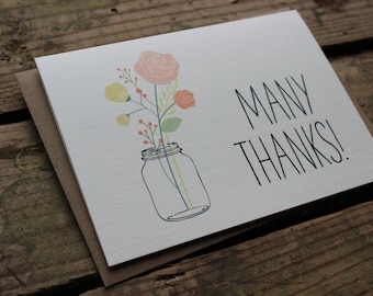 Thank You Cards with Envelopes / Wedding / Shower / Engagement / Many Thanks!