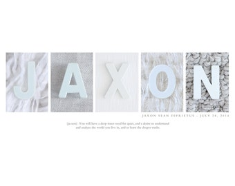 Baby Boy Name Print - Alphabet Letter Photos, Custom Name Print, Modern Baby Decor, Personalized Name Art Print, Boy Nursery Art