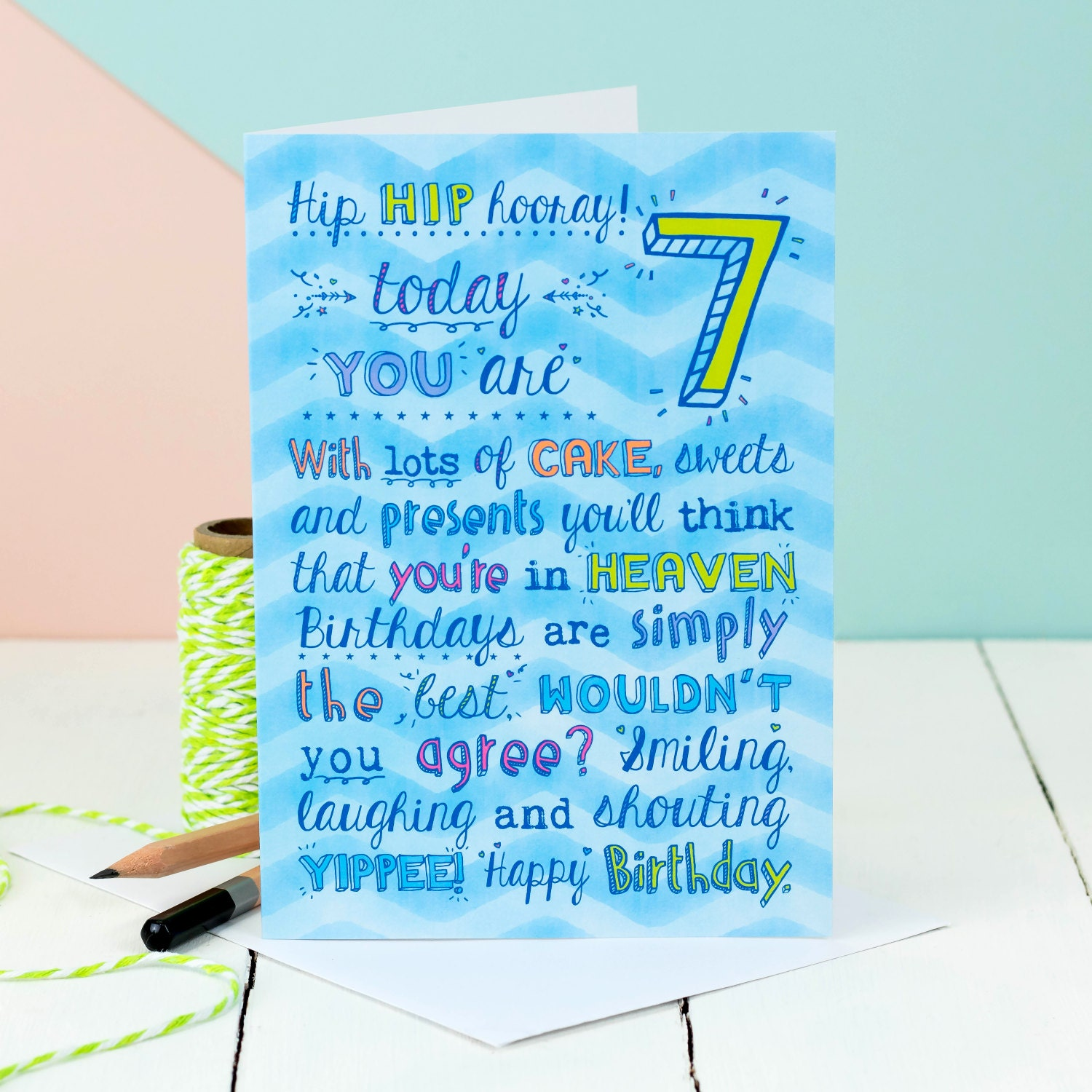 7th birthday card choice of pink or blue card for